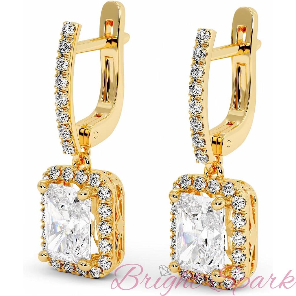 Висячие серьги с прямоугольным бриллиантом и ореолом в желтом золоте