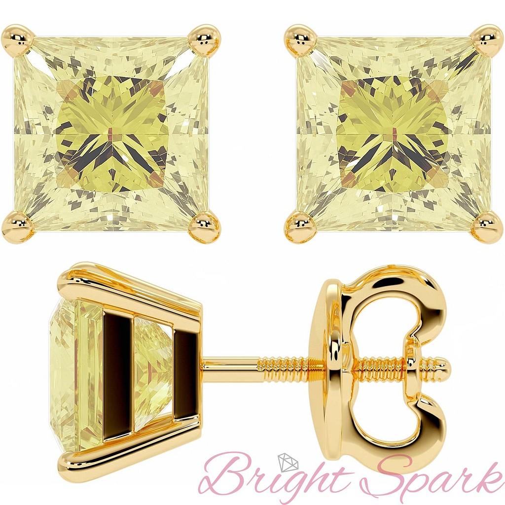 Серьги-пусеты с крупными желтыми бриллиантами принцесса 2 карата