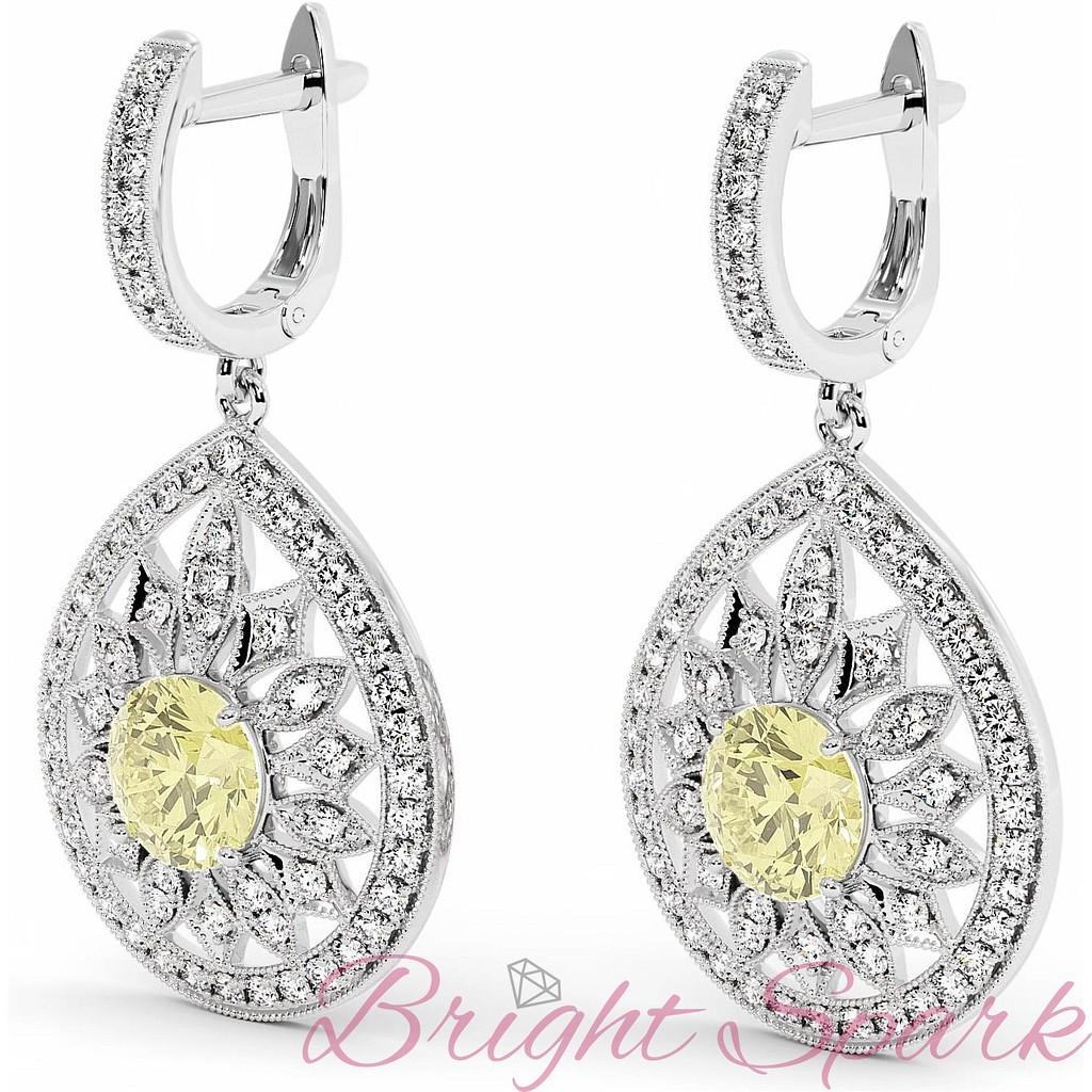 Вечерние серьги в форме капли с желтыми бриллиантам