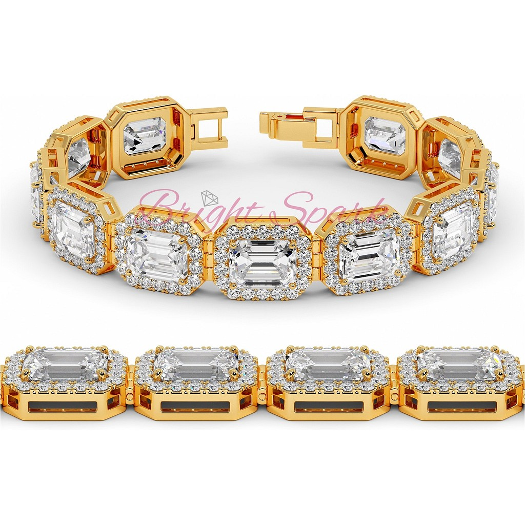 Браслет с изумрудными бриллиантами и россыпью желтого золота