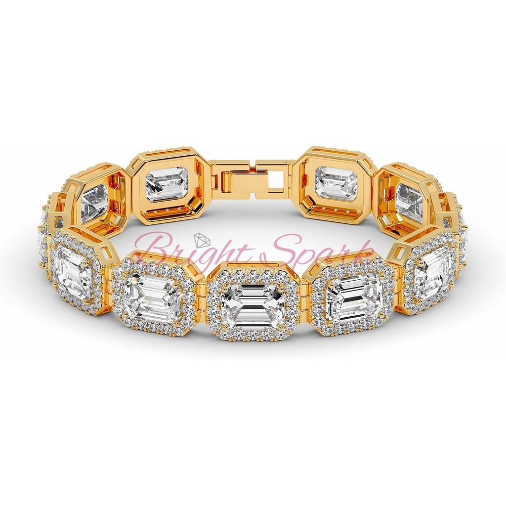 Золотой браслет с изумрудными бриллиантами и россыпью желтого золота