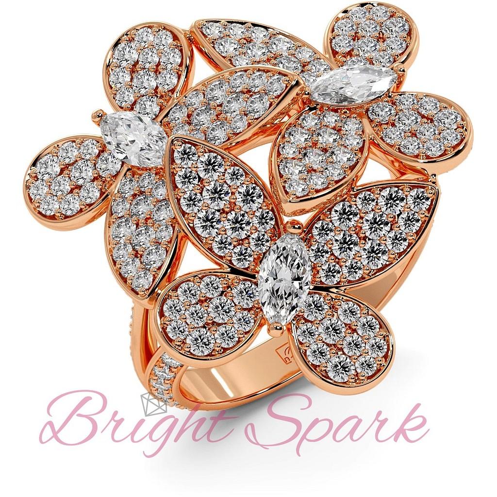 Кольцо розового золота с бабочками в дизайне Graff Butterfly 1,92  карата