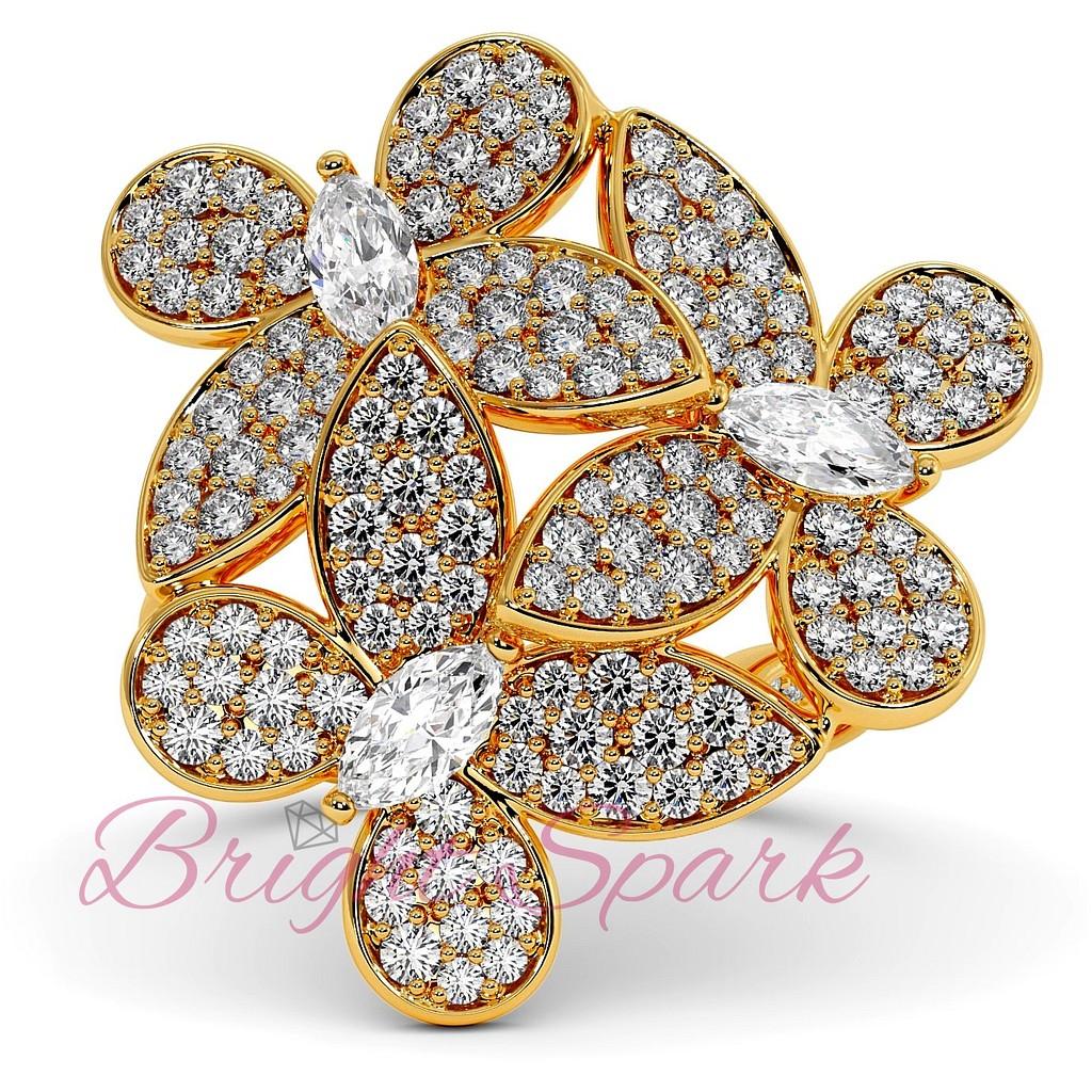 Кольцо желтого золота с бабочками  1,92  карата