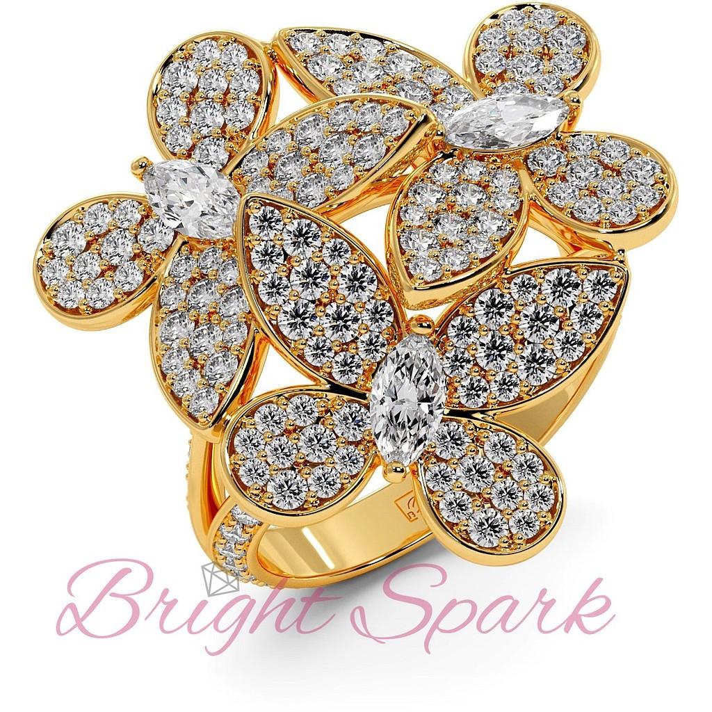 Кольцо желтого золота с бабочками в дизайне Graff Butterfly 1,92  карата