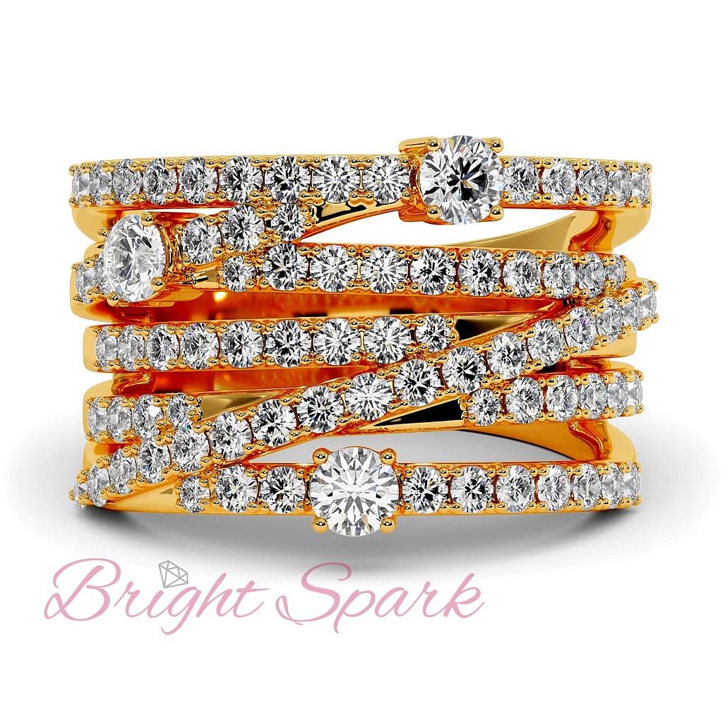Вечернее кольцо с переплетением дорожек бриллиантов изжелтого золота