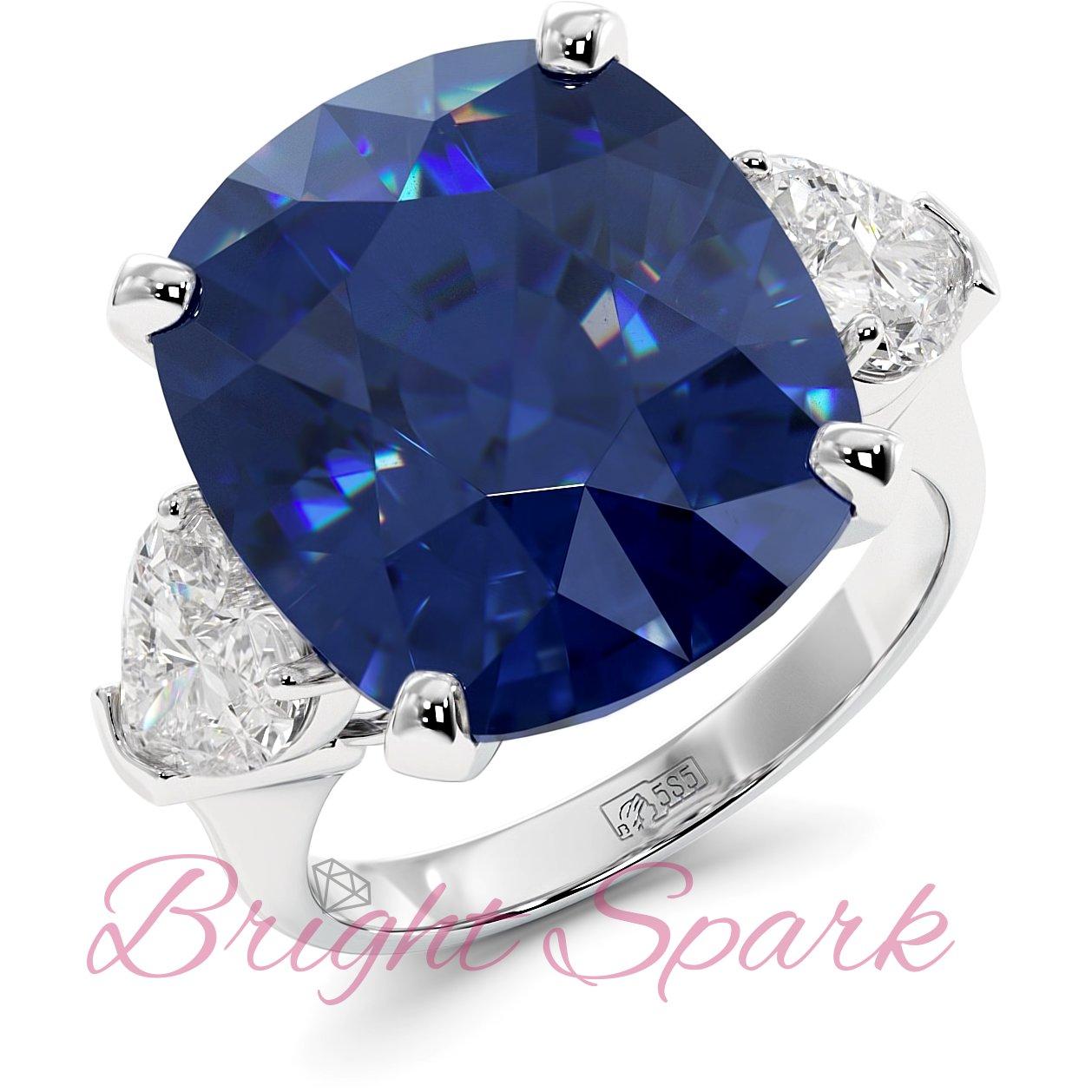 Золотое кольцо с синим сапфиром кушон и камнями сердце Whitney 16,5 карат