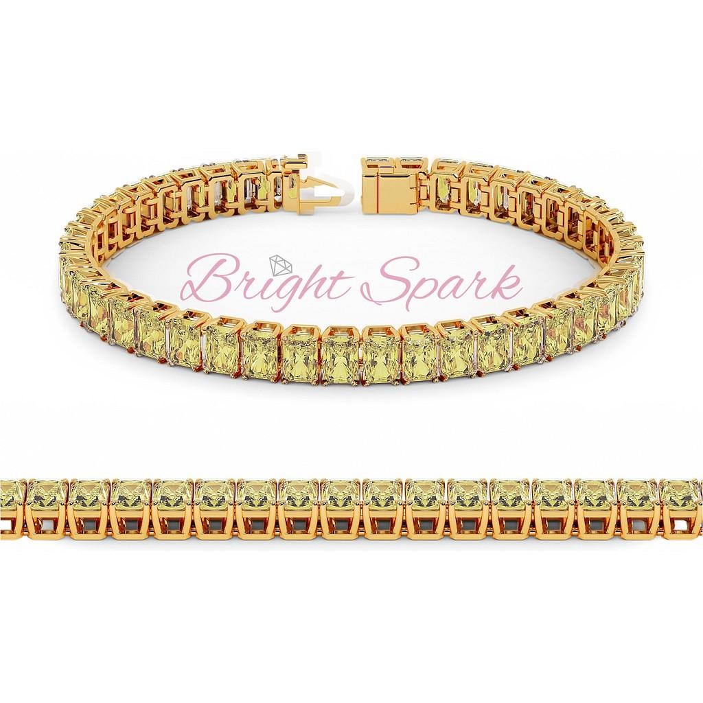 Золотой браслет с желтыми муассанитами изумрудной огранки Holly 21 карат