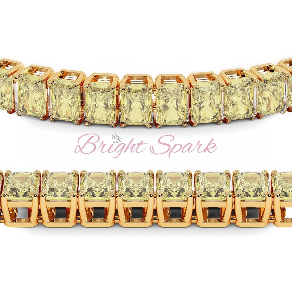 Золотой браслет с желтыми бриллиантами изумрудной огранки Holly 21 карат