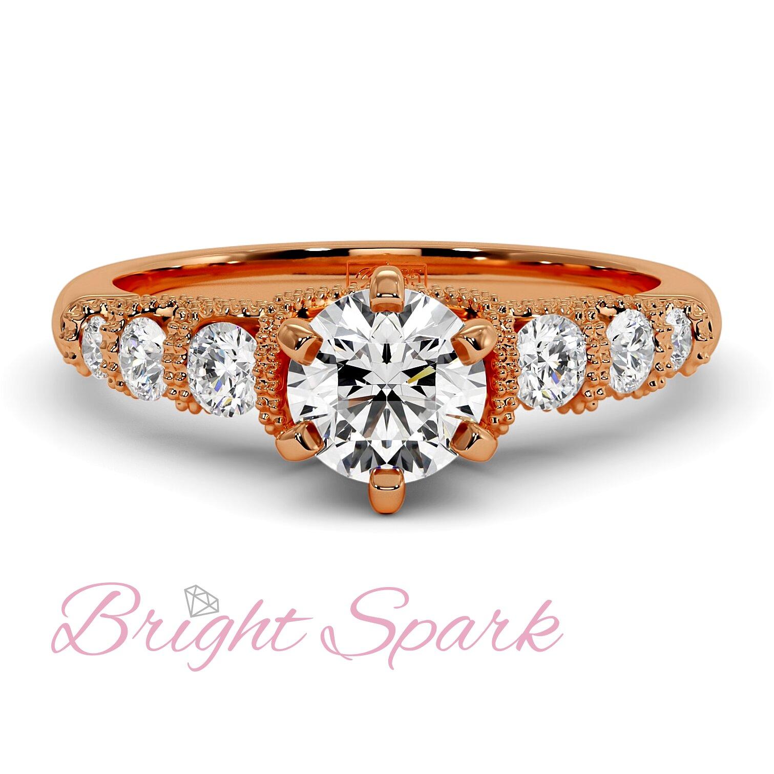 Помолвочное кольцо с филигранью и 7 камнями из розового золота