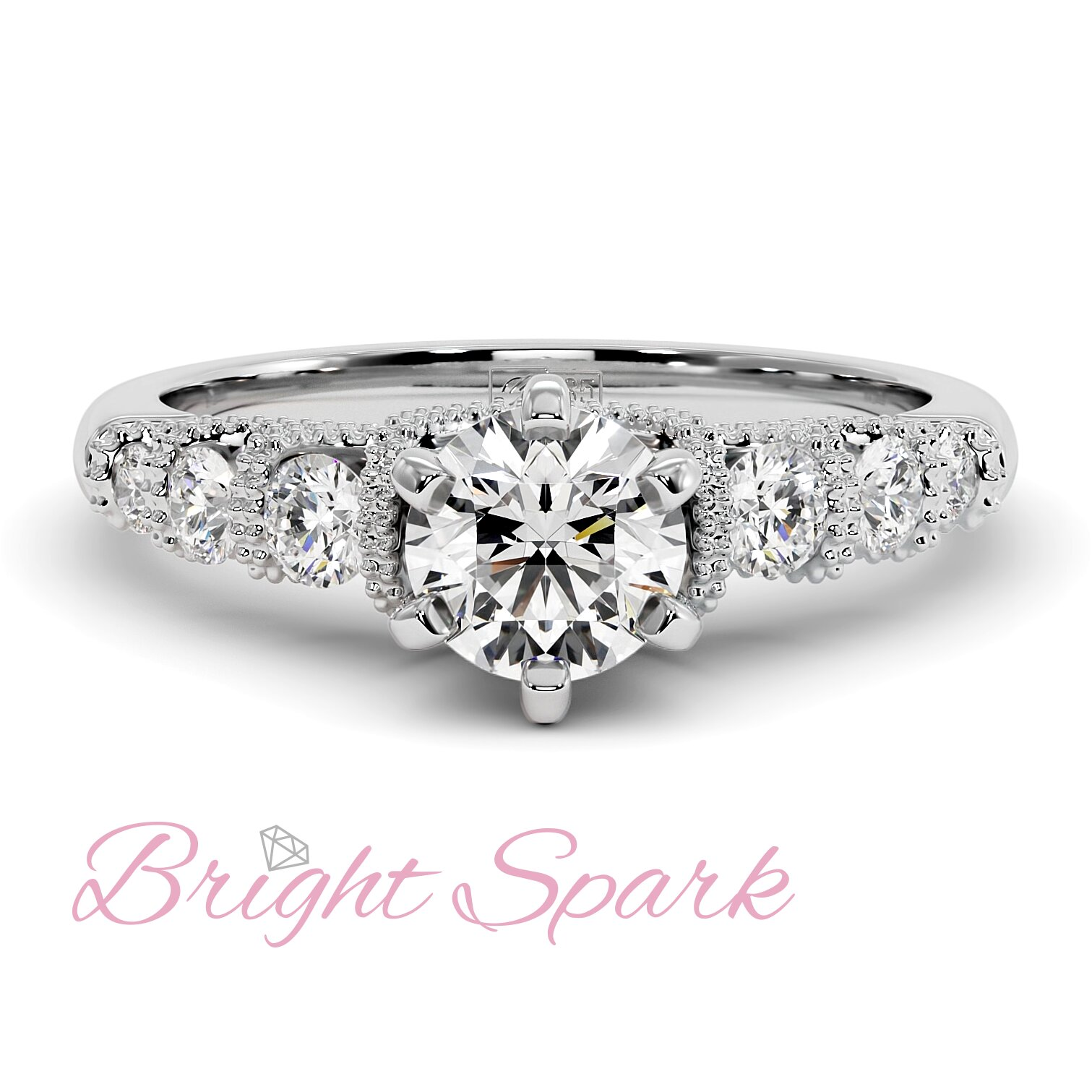 Помолвочное кольцо с филигранью и 7 камнями из белого золота