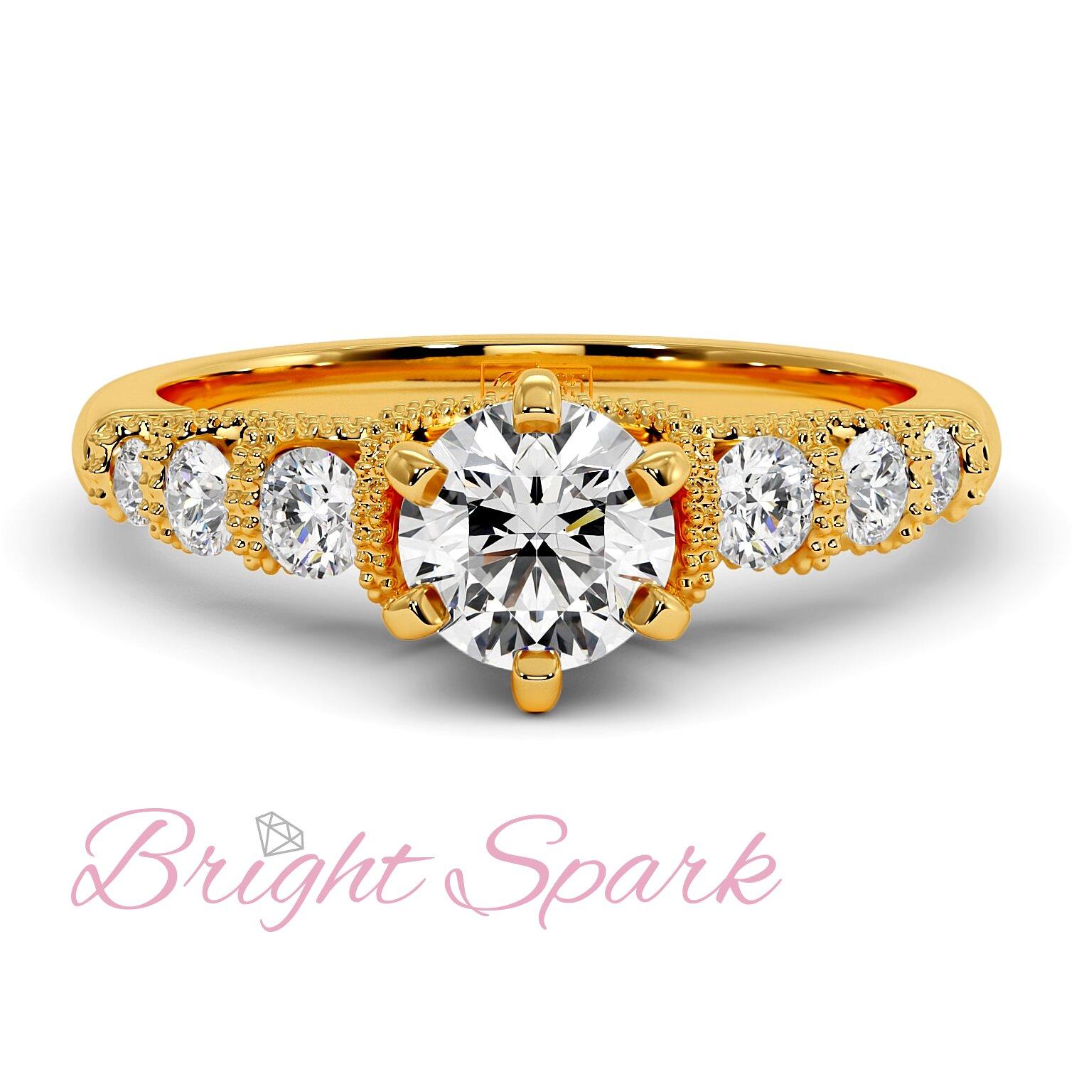 Помолвочное кольцо с филигранью и 7 камнями из желтого золота