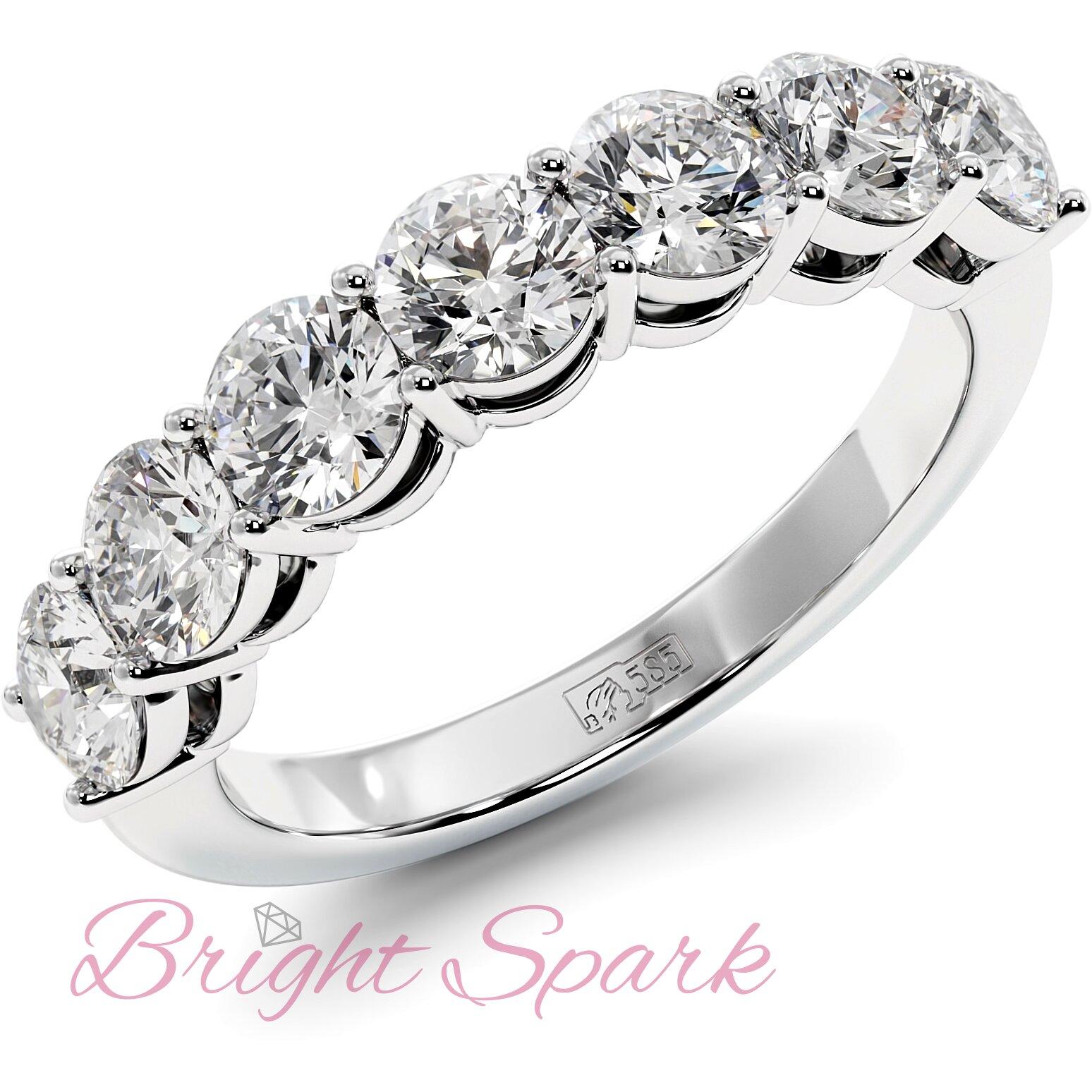 Обручальное кольцо белого золота с дорожкой из семи камней Embrace на 1,7 карат