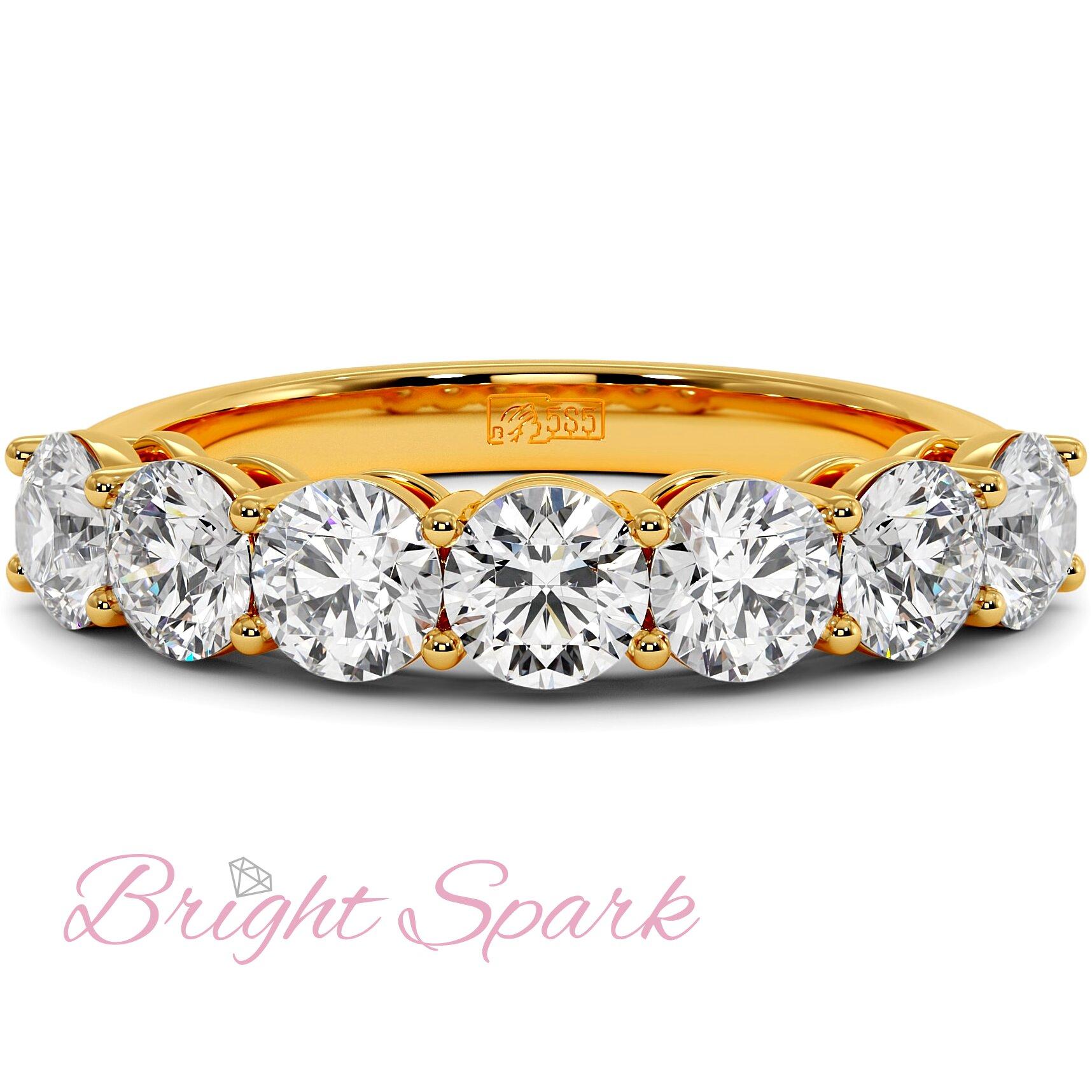Кольцо желтого золота с дорожкой из семи камней Embrace на 1,7 карат