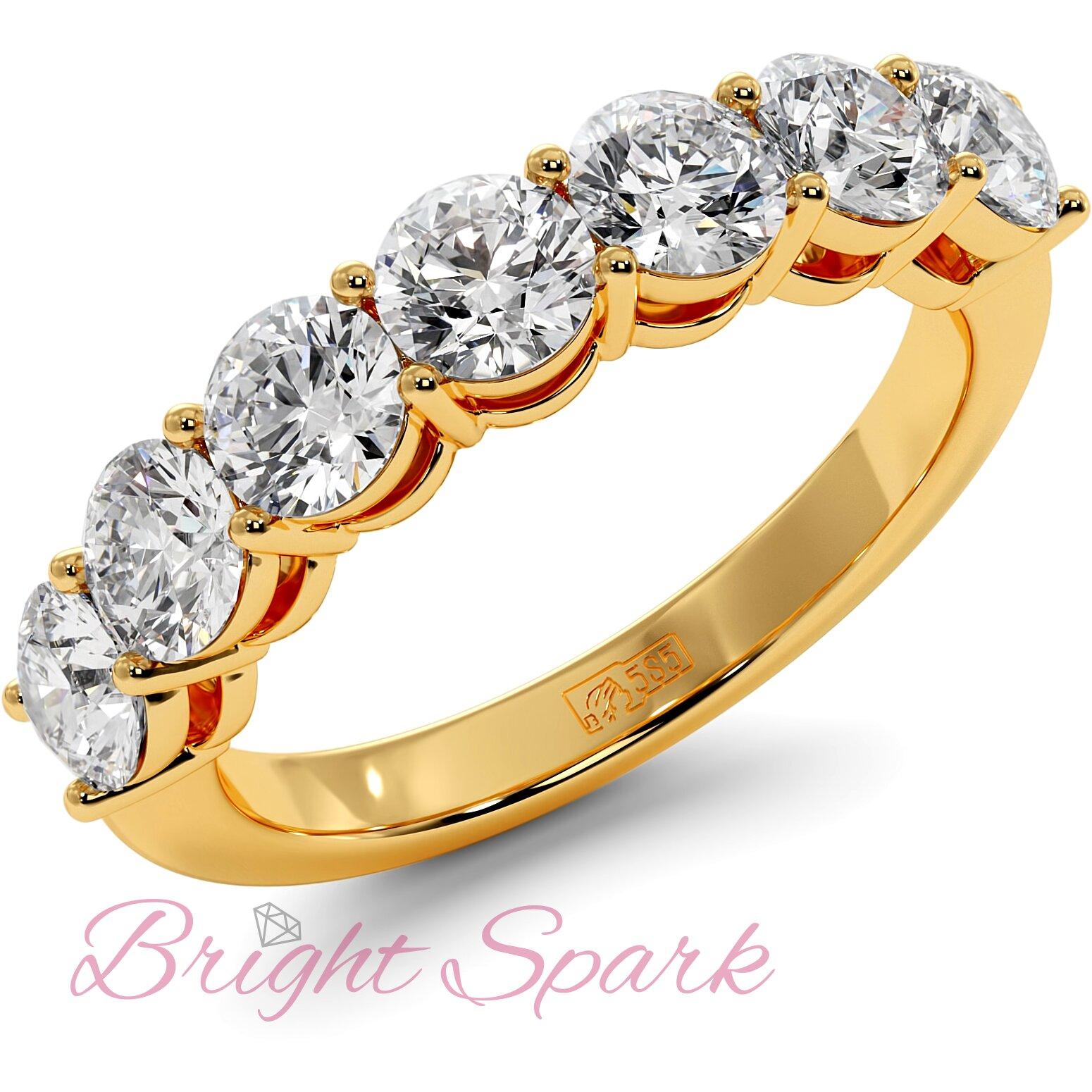 Обручальное кольцо желтого золота с дорожкой из семи камней Embrace на 1,7 карат
