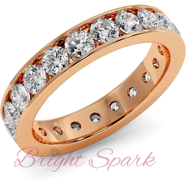 Обручальное кольцо розового золота с дорожкой по кругу 3 мм Eternity  1,9 карата