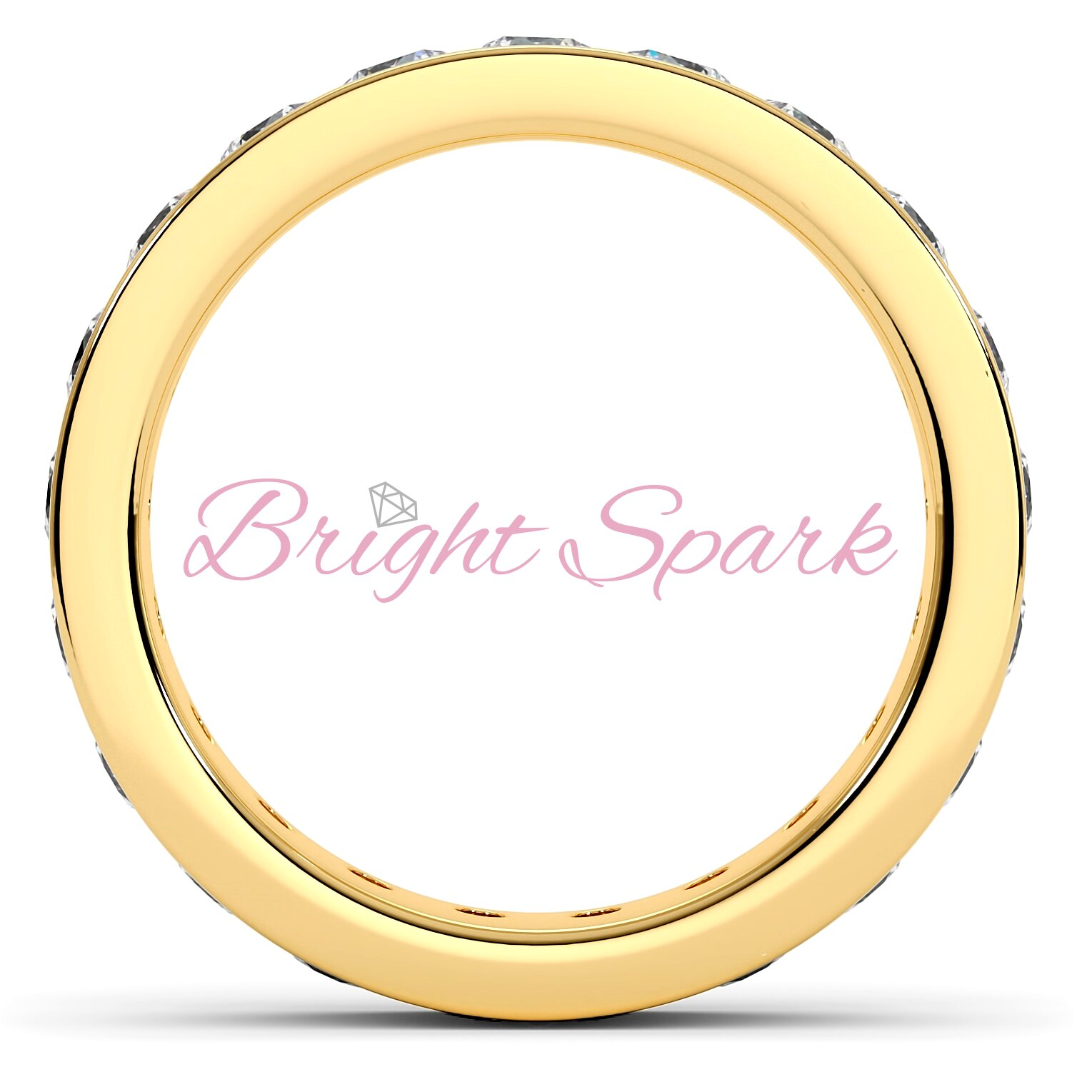 Обручальное кольцо желтого золота с дорожкой 3 мм Eternity  1,9 карата