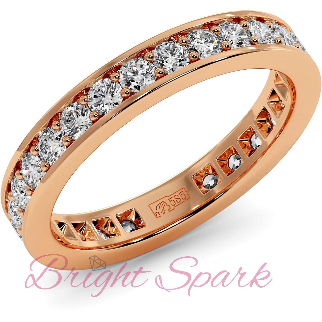Обручальное кольцо розового золота с дорожкой Helen 0,8 карата