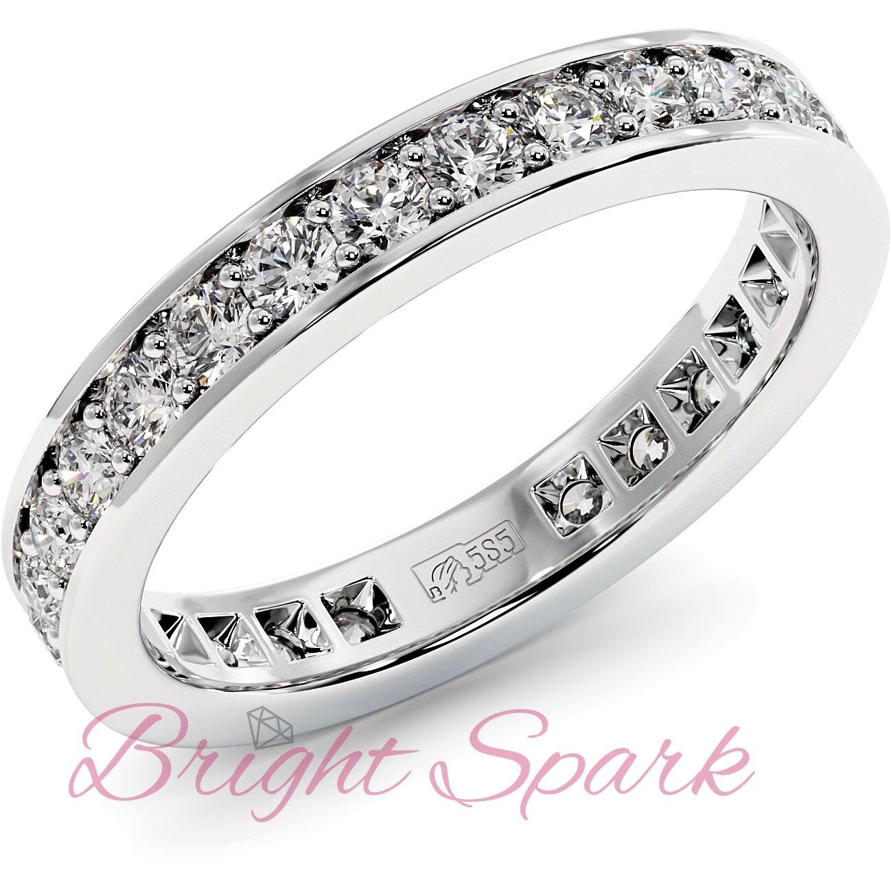 Обручальное кольцо белого золота с дорожкой Helen 0,8 карата