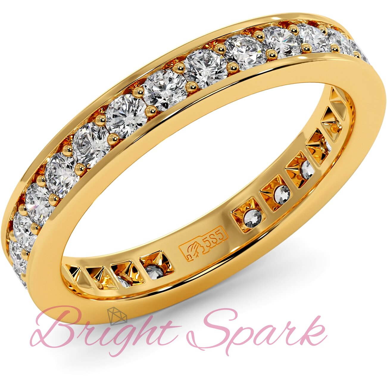 Обручальное кольцо желтого золота с дорожкой Helen 0,8 карата