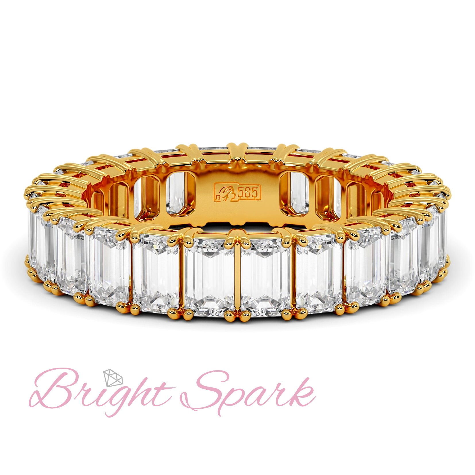Кольцо с муассанитами изумрудной огранки по кругу желтое золото 3,6 карата