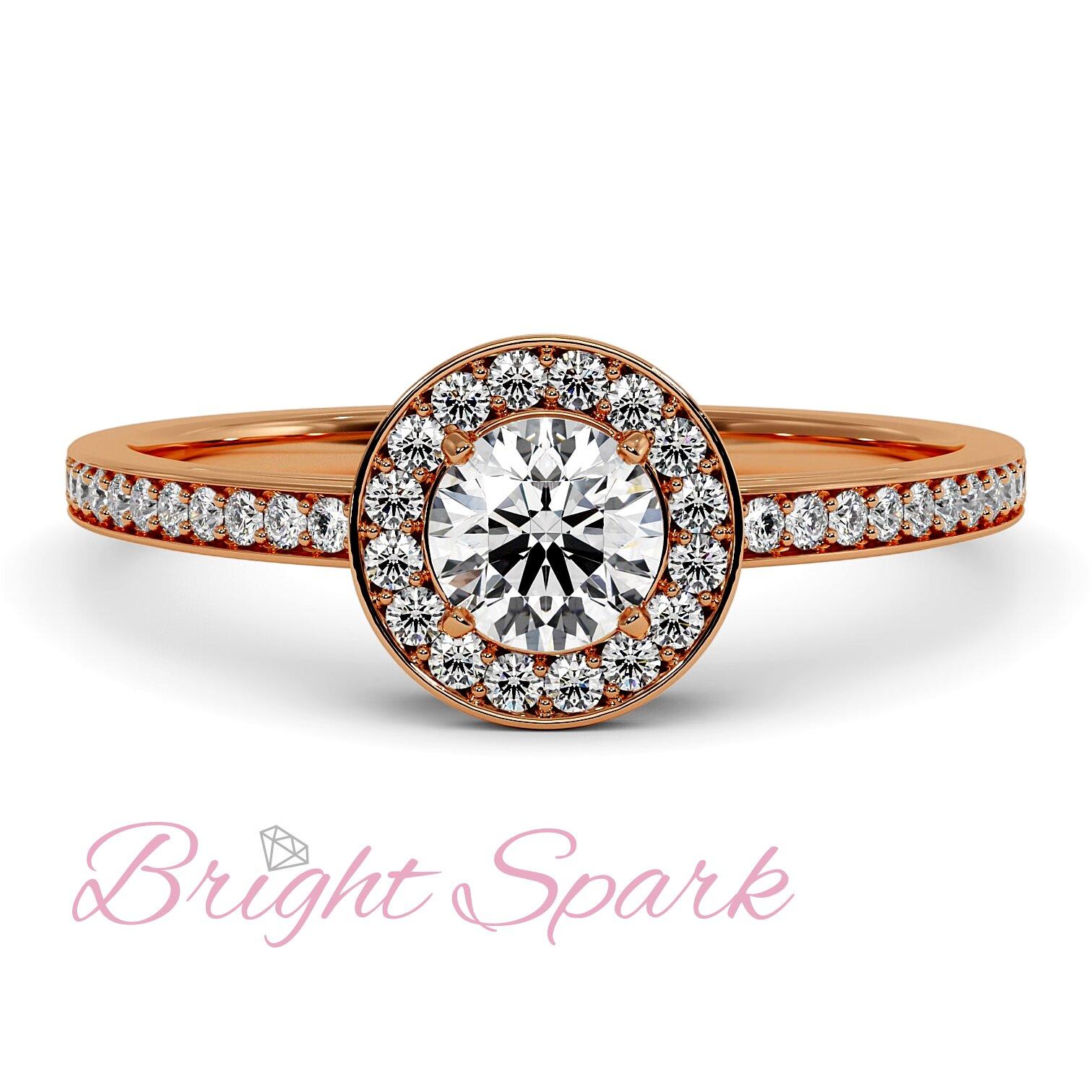 Кольцо розового золота с бриллиантом в глухой оправе 0,4 карата Jessie