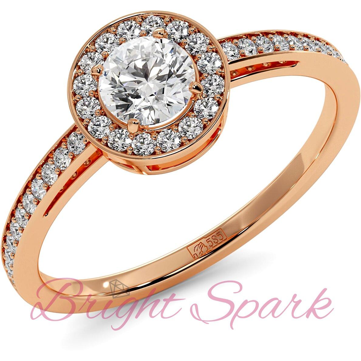 Кольцо розового золота с муассанитом в глухой оправе 0,4 карата Jessie