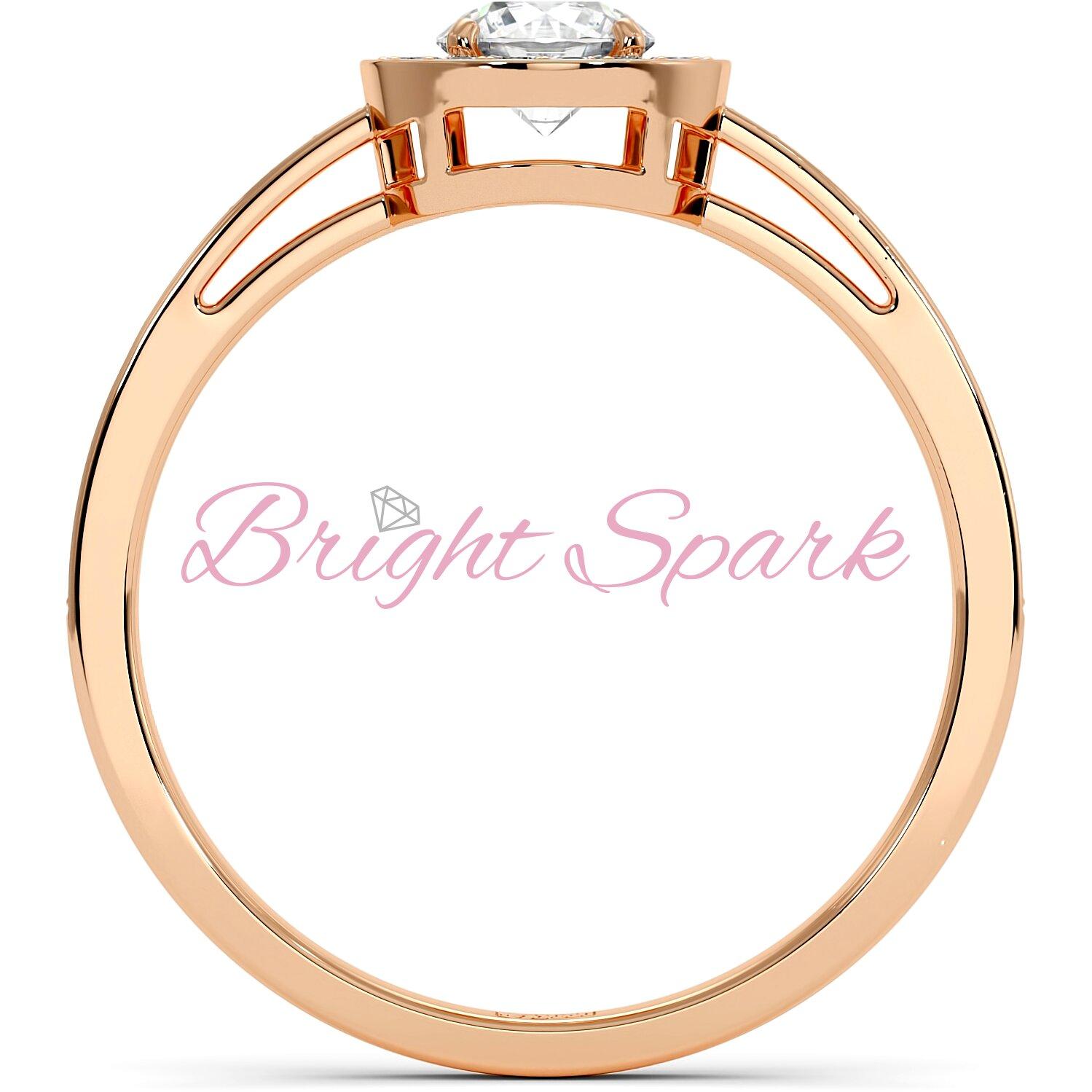 Кольцо розового золота с муассанитом в глухой оправе на 0,4 карата Jessie
