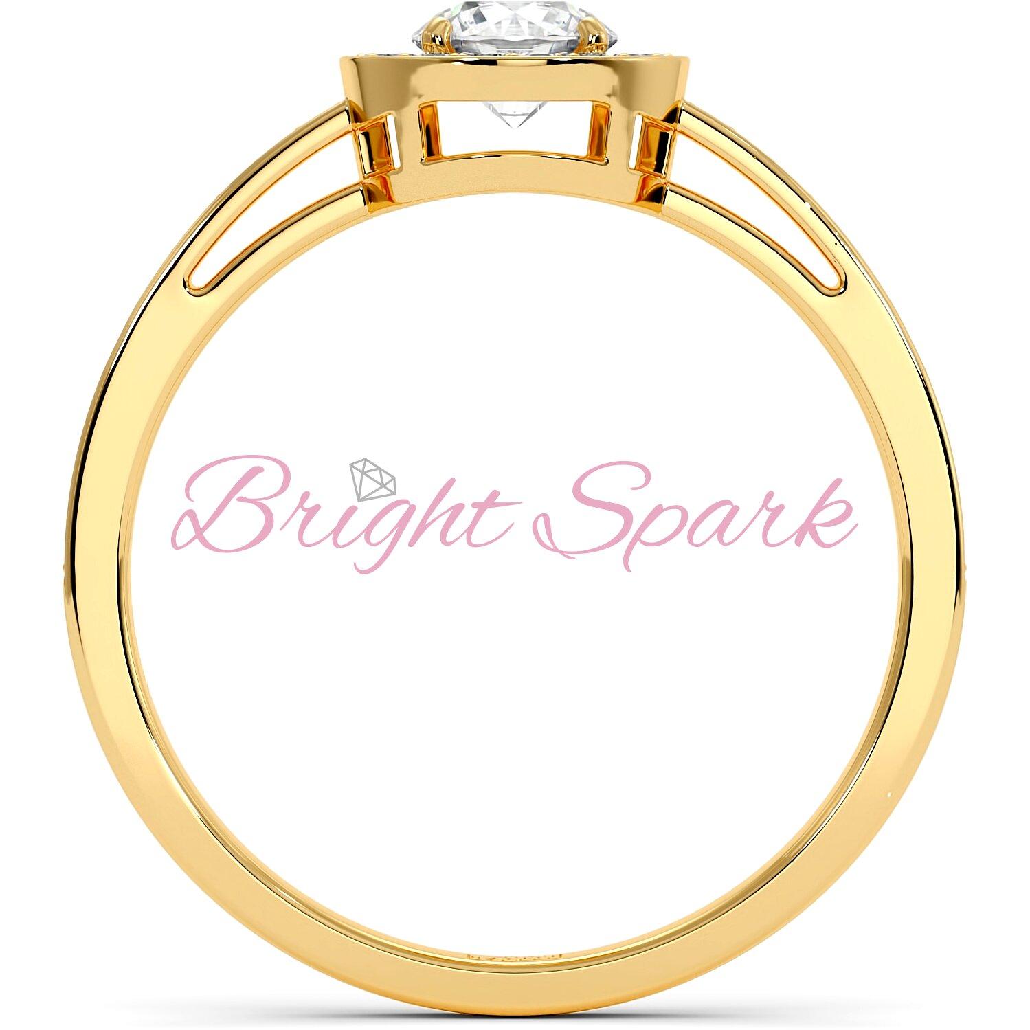 Кольцо желтого золота с бриллиантом в глухой оправе 0,4 карата Jessie