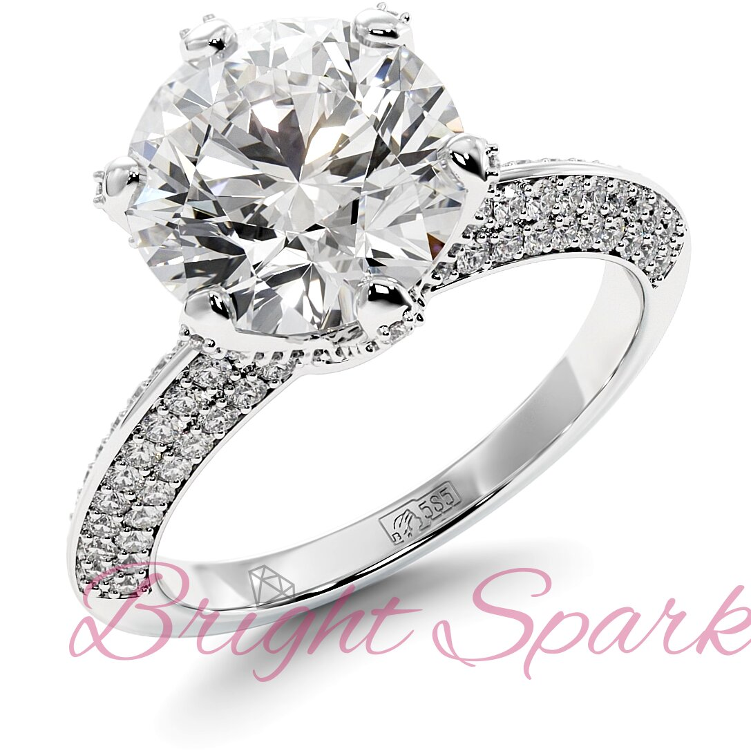 Помолвочное  кольцо белого золота усыпанное камнями Melanie 3,5 карата