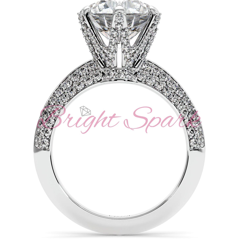 Помолвочное  кольцо белого золота усыпанное камнями Melanie на 3,5 карата