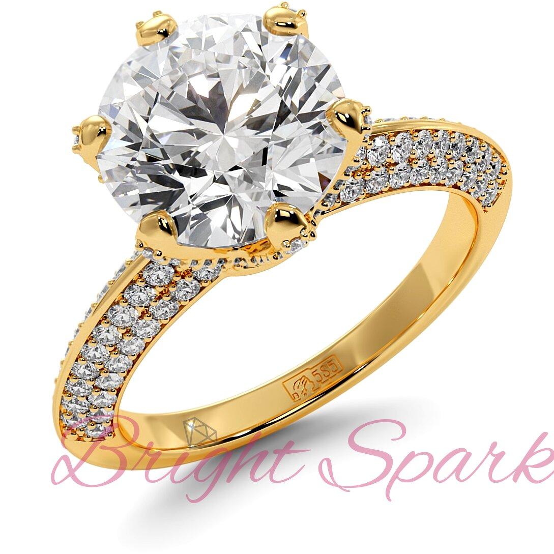 Помолвочное  кольцо желтого золота усыпанное камнями Melanie 3,5 карата