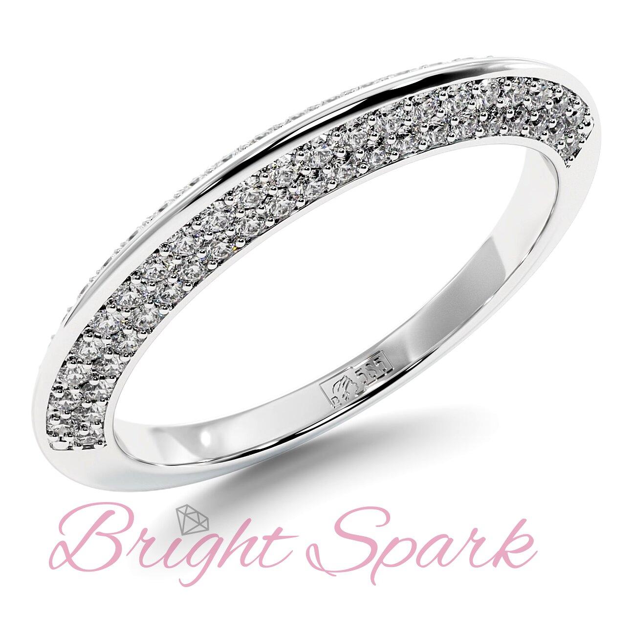 Обручальное кольцо  белого золота усыпанное камнями Melanie 0,5 карата