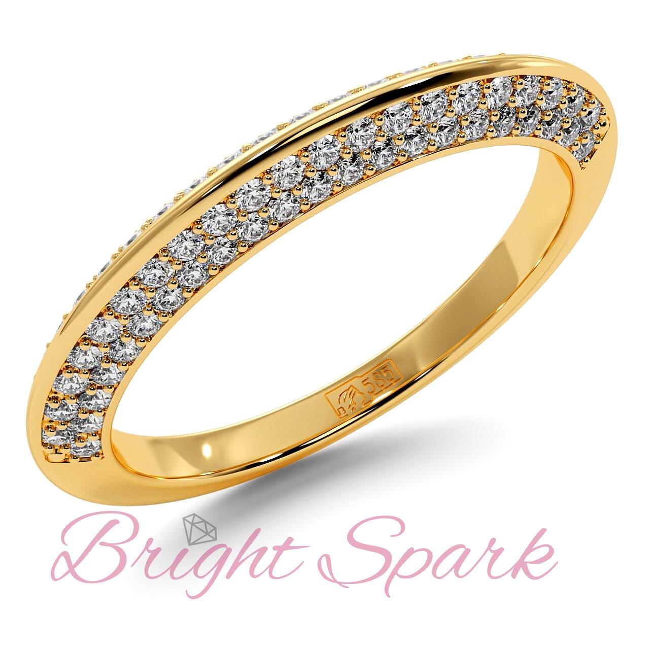 Обручальное кольцо  желтого золота усыпанное камнями Melanie 0,5 карата