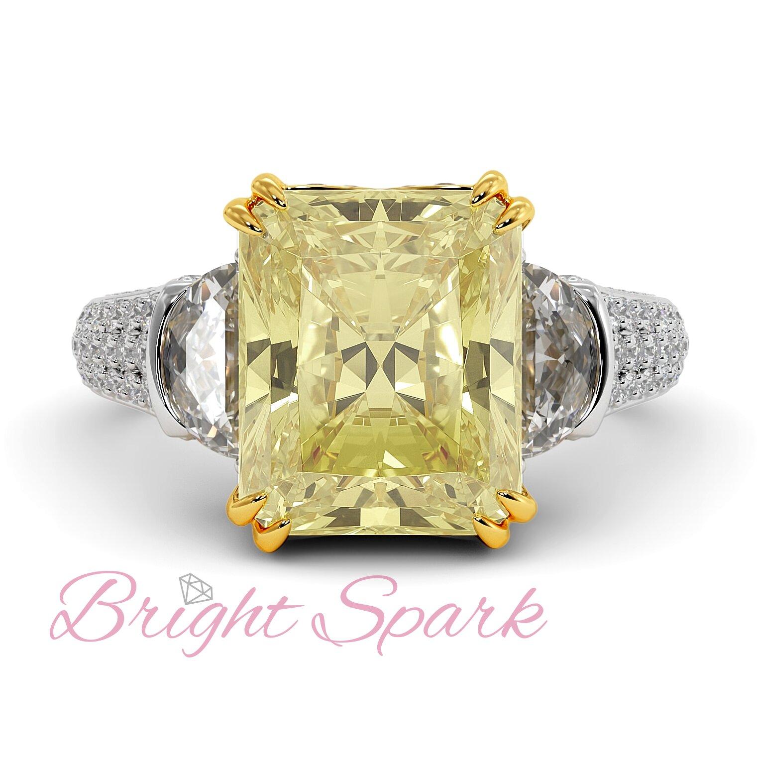 Золотое кольцо с крупным желтым муассанитом Moon 5 карат