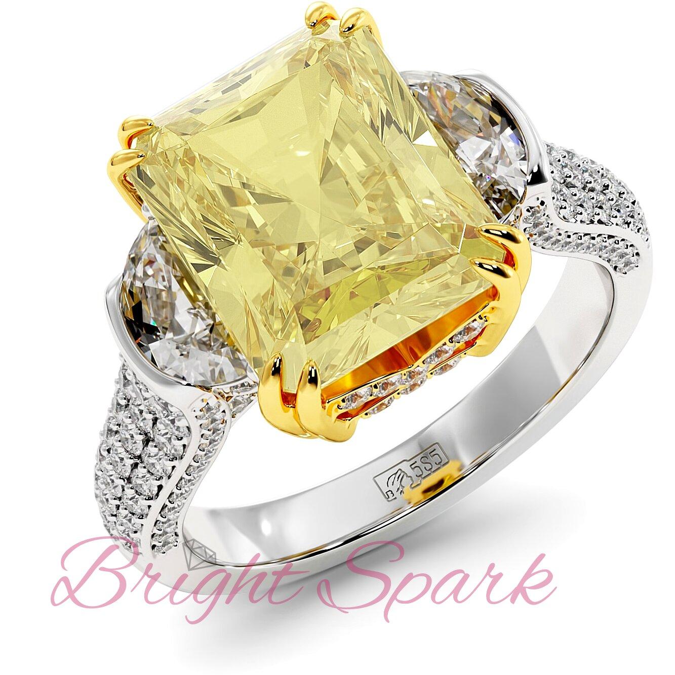 Роскошное золотое кольцо с крупным желтым муассанитом Moon 5 карат