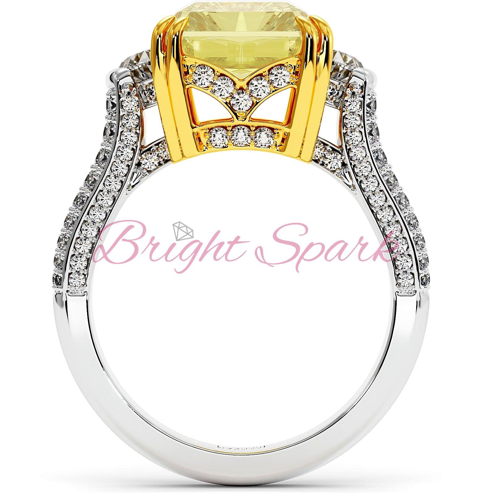 Роскошное золотое кольцо с крупным желтым бриллиантом Moon 5 карат