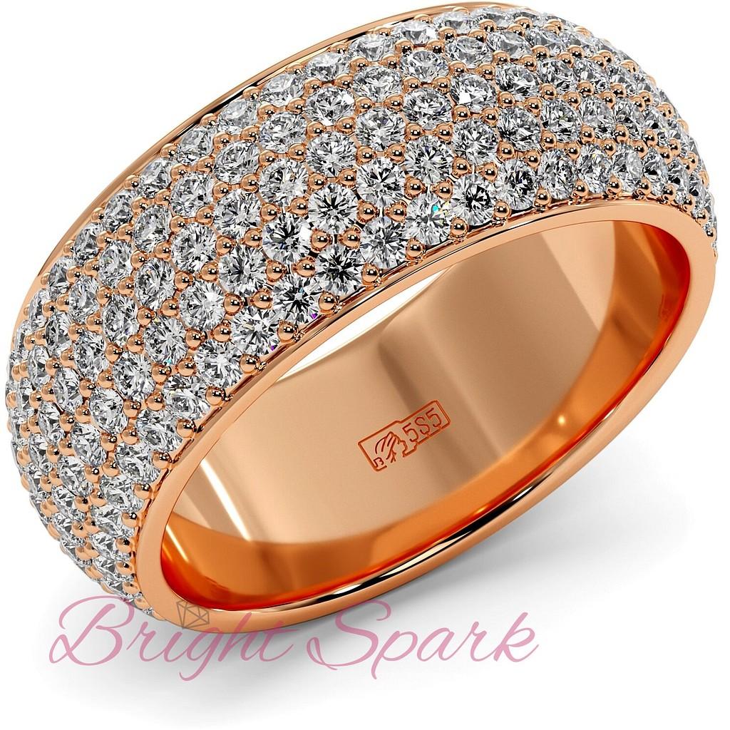 Широкое кольцо розового золота с россыпью камней Paolina 2,6 карата
