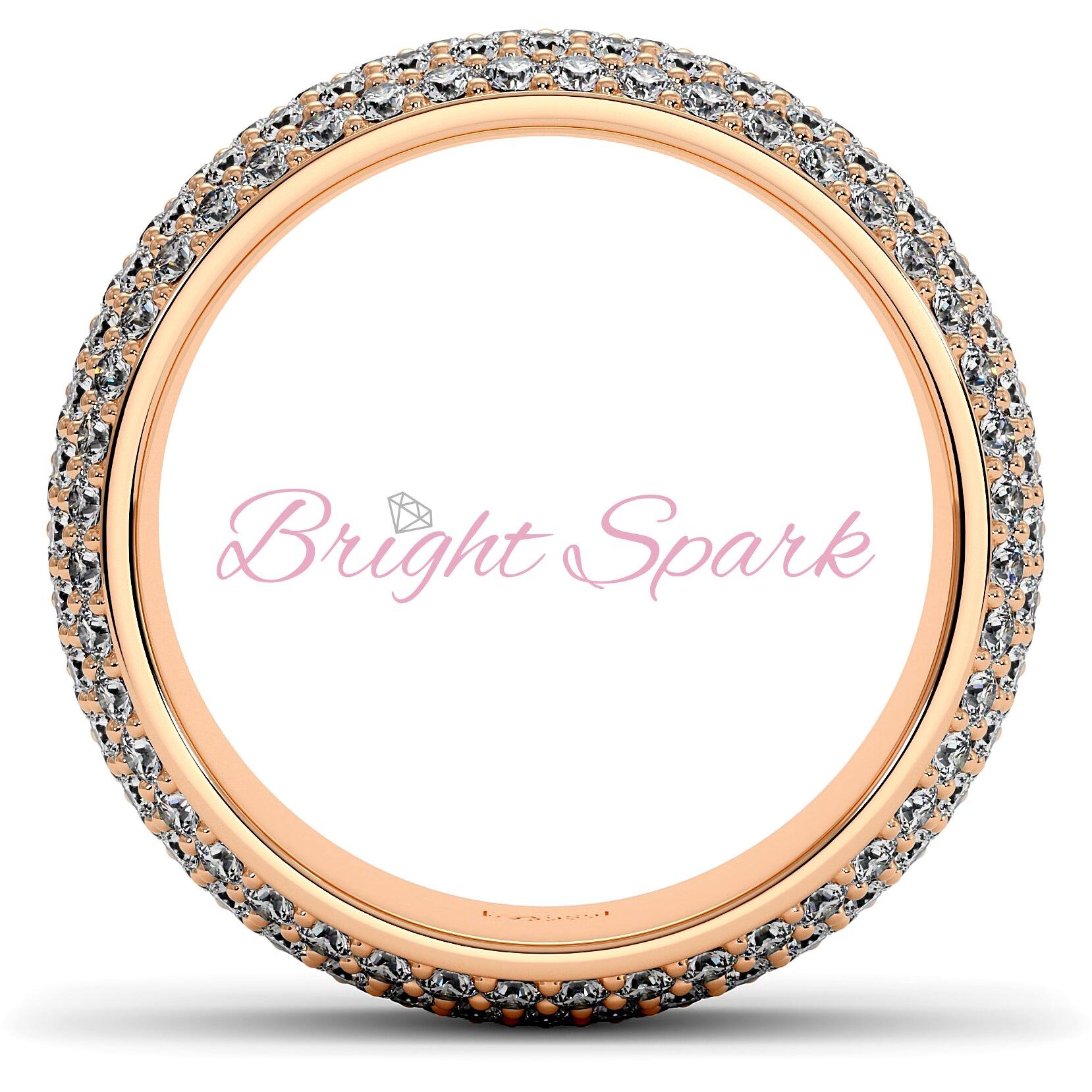 Широкое кольцо розового золота с россыпью камней Paolina на 2,6 карата