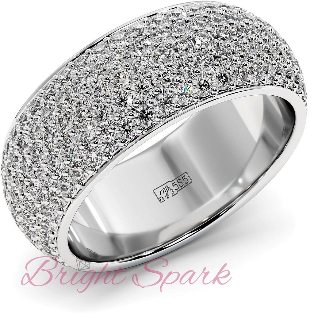 Широкое кольцо белого золота с россыпью камней Paolina 2,6 карата
