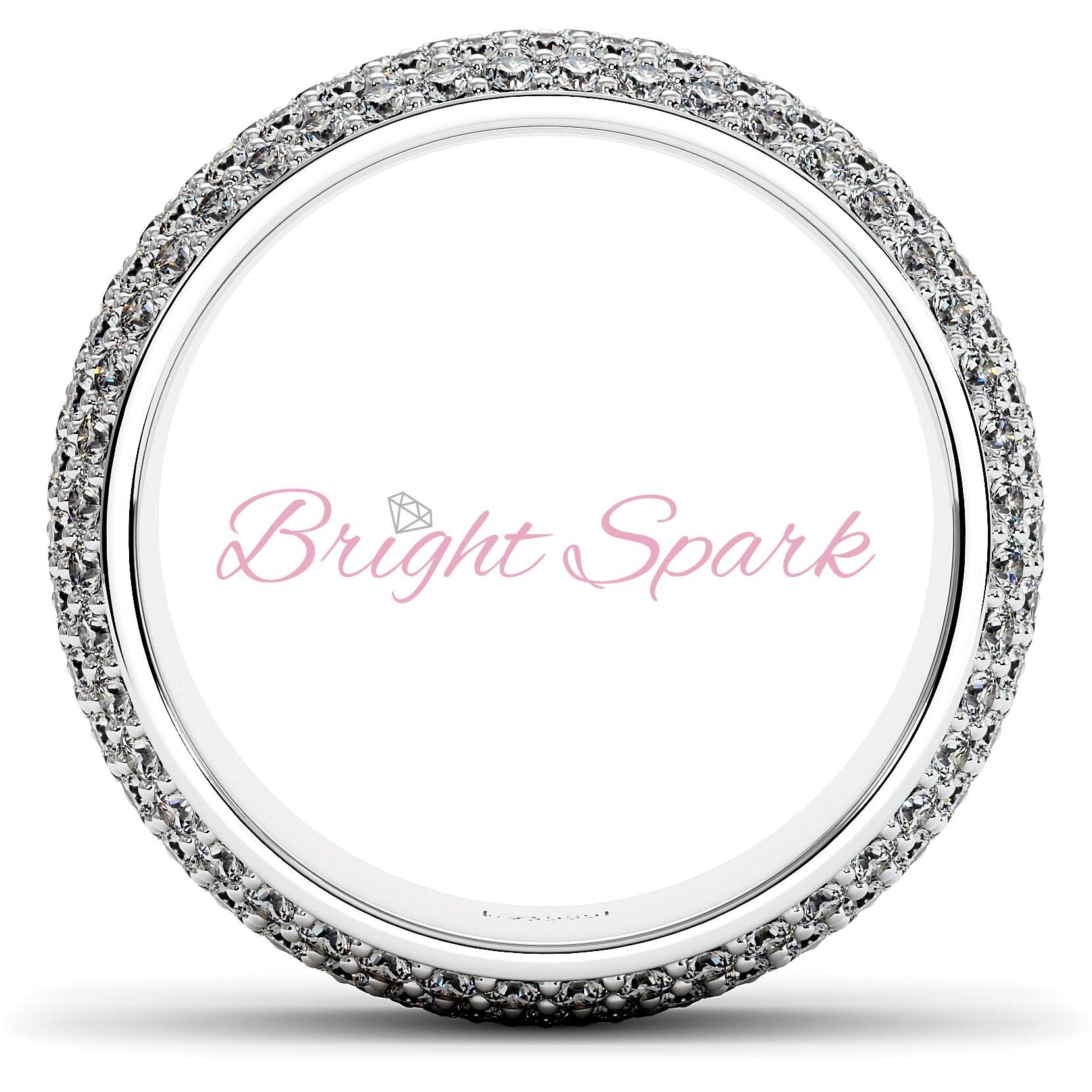 Широкое кольцо белого золота с россыпью камней Paolina на 2,6 карата