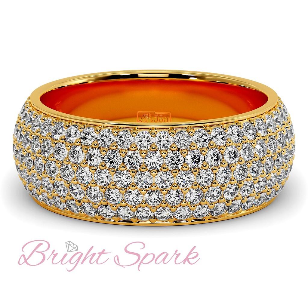 Кольцо желтого золота с россыпью камней Paolina 2,6 карата
