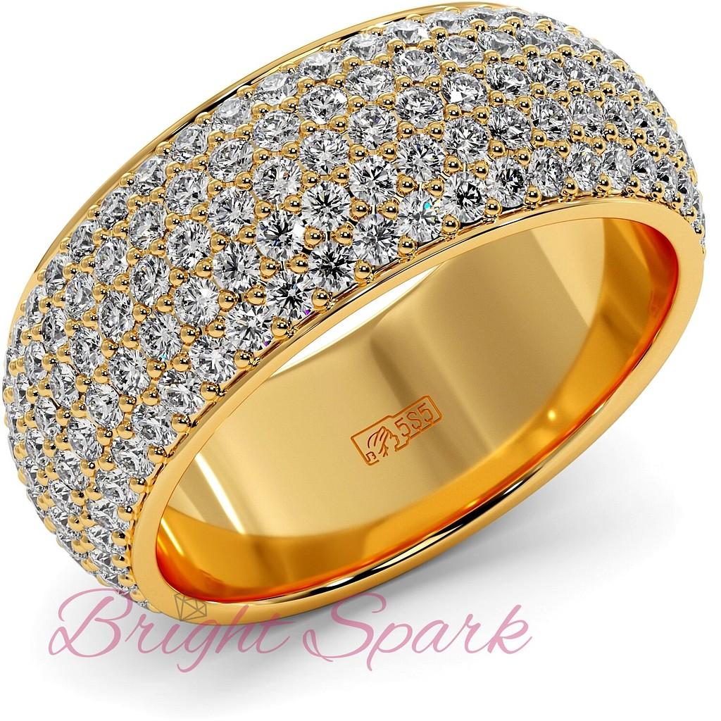 Широкое кольцо желтого золота с россыпью камней Paolina 2,6 карата