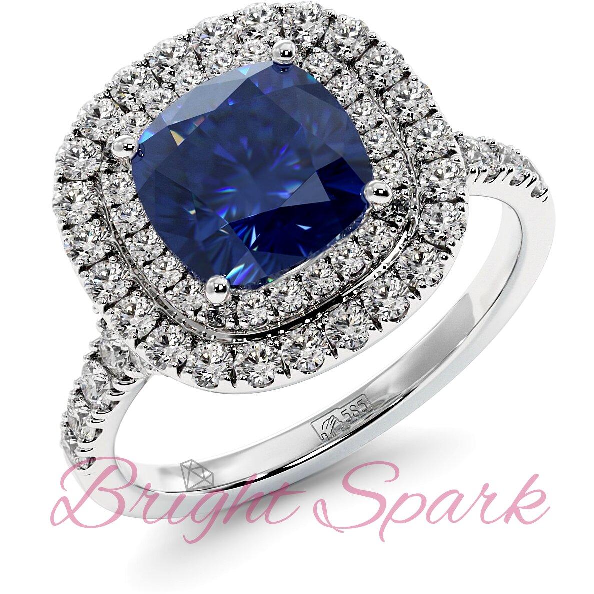 Золотое кольцо с синим сапфиром кушон в ореоле с дорожкой Soul 2,9 карата