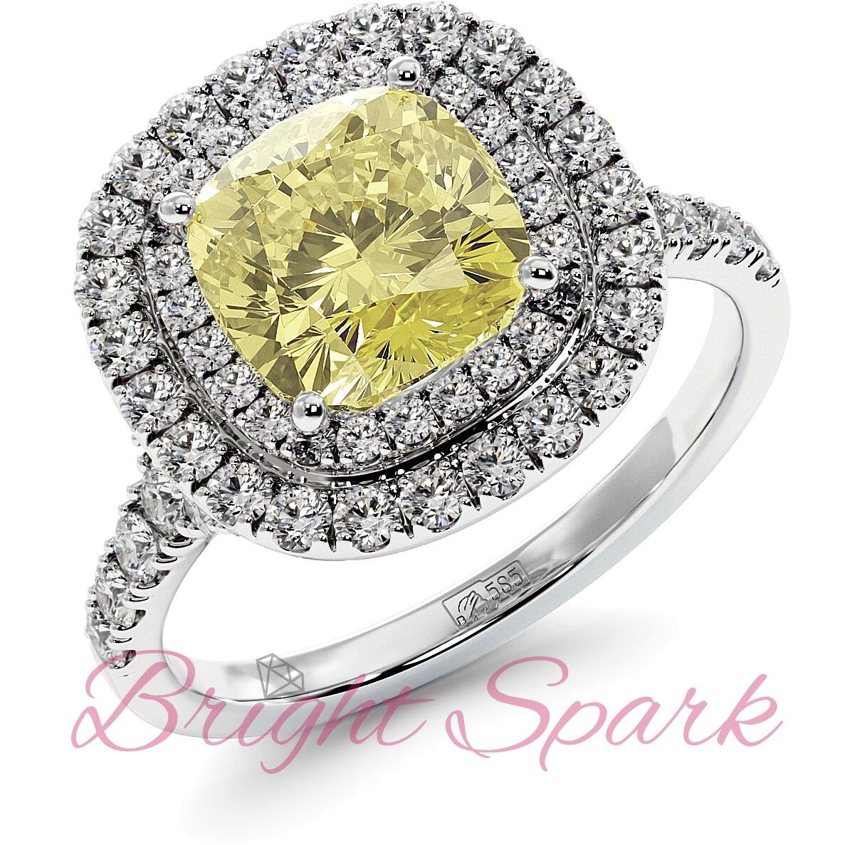 Золотое кольцо с желтым муассанитом кушон в ореоле с дорожкой Soul 2,5 карата