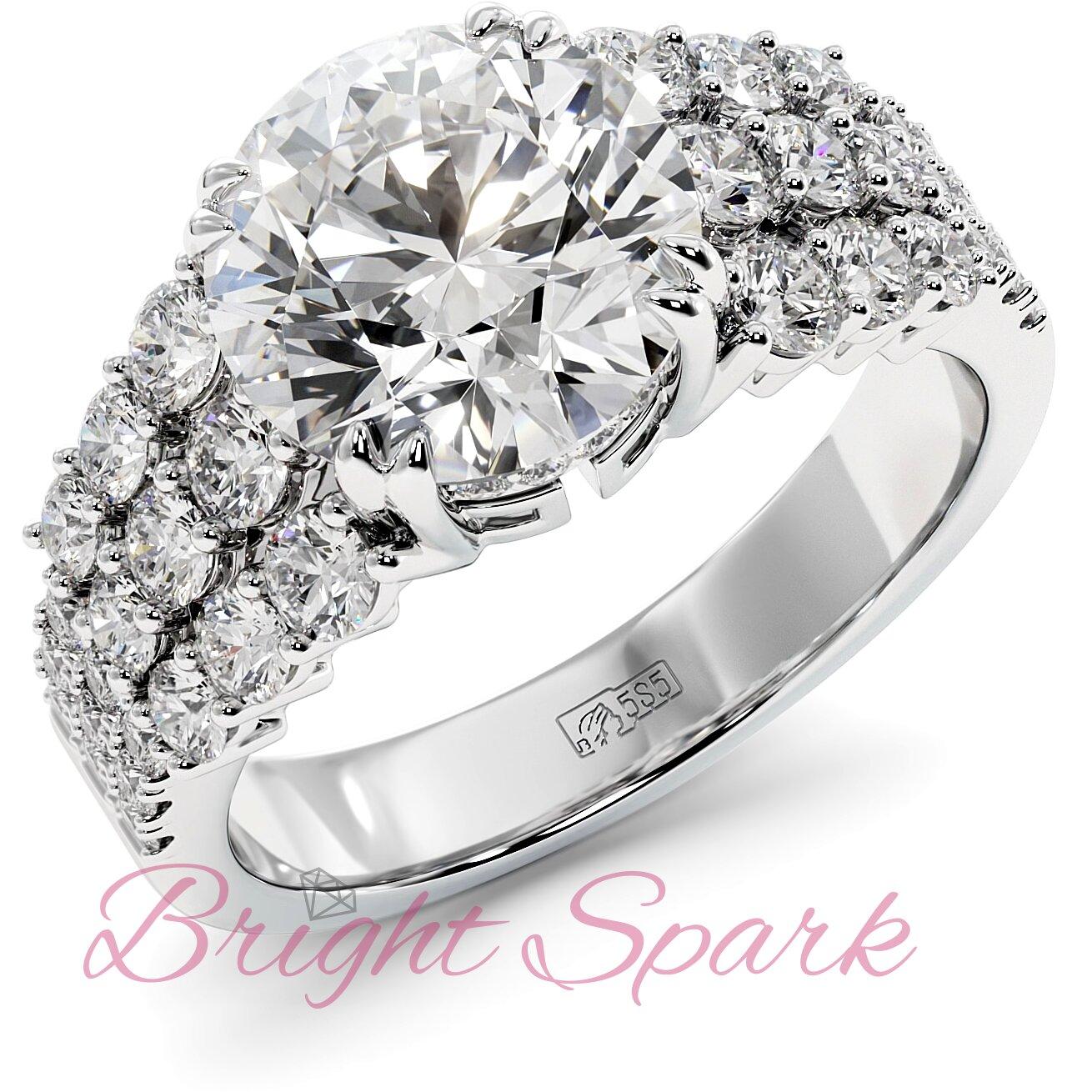 Помолвочное кольцо белого золота с тремя дорожками Stella 3,6 карата