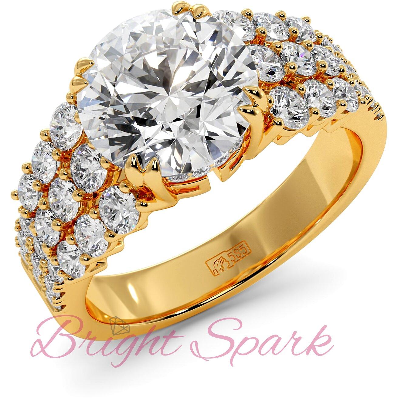Помолвочное кольцо желтого золота с тремя дорожками Stella 3,6 карата