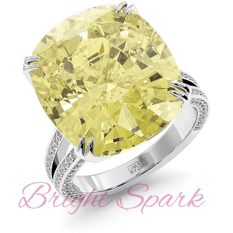 Золотое кольцо с желтым муассанитом огранки кушон и дорожками Stephanie 17,9  карата