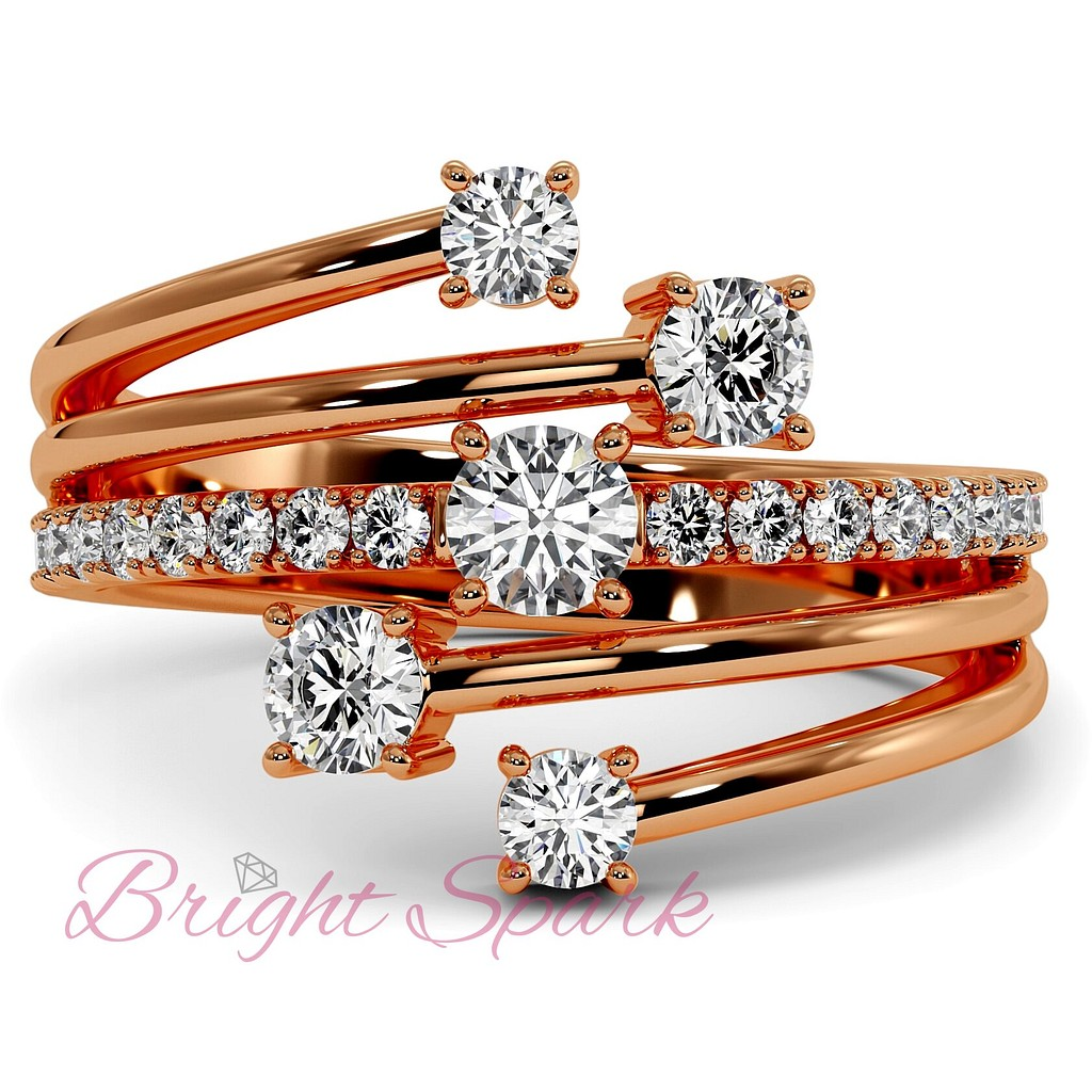 Кольцо розового золота с бриллиантами и ветвящейся дужкой Vera 0,7 карата