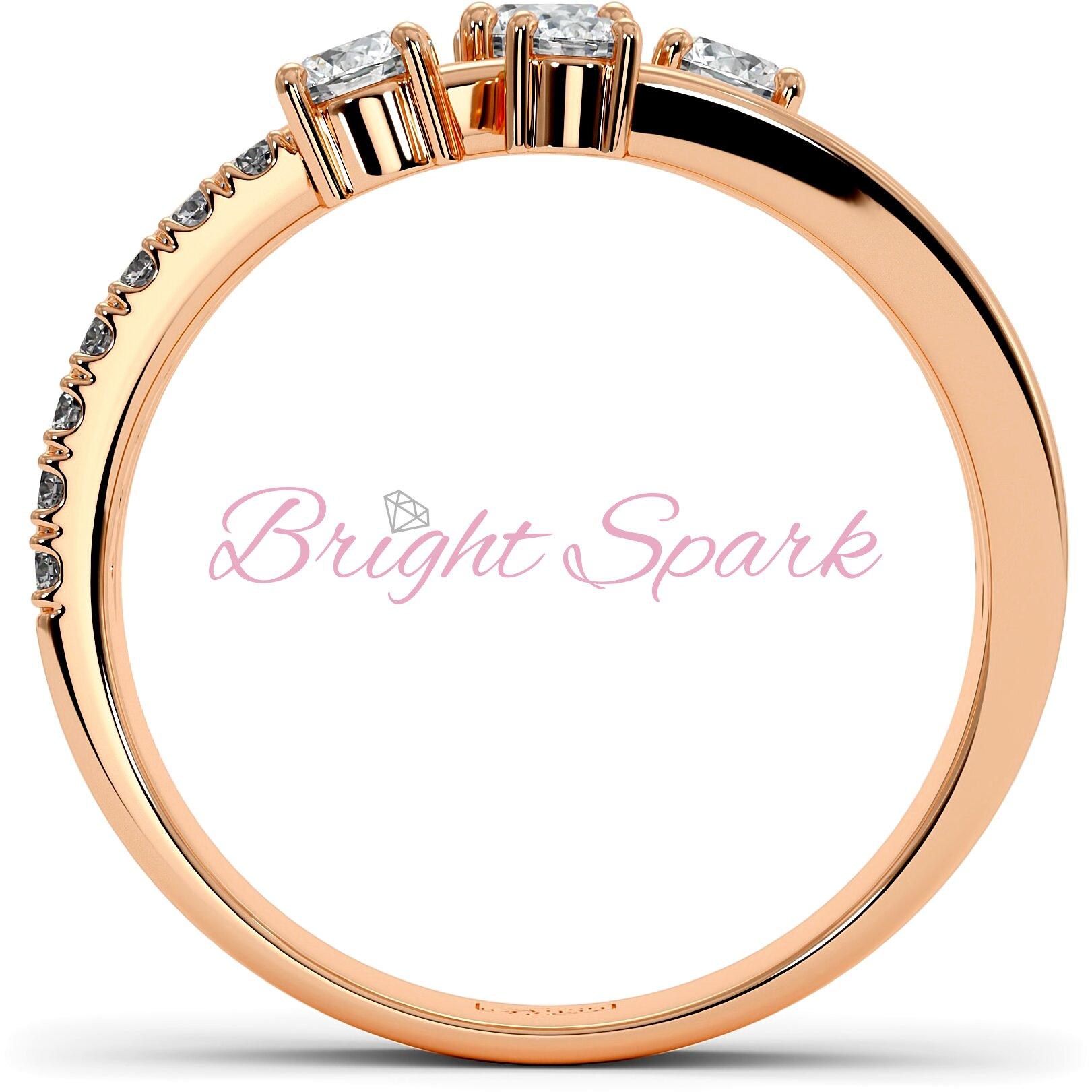 Кольцо розового золота с муассанитами и ветвящейся дужкой Vera на 0,7 карата