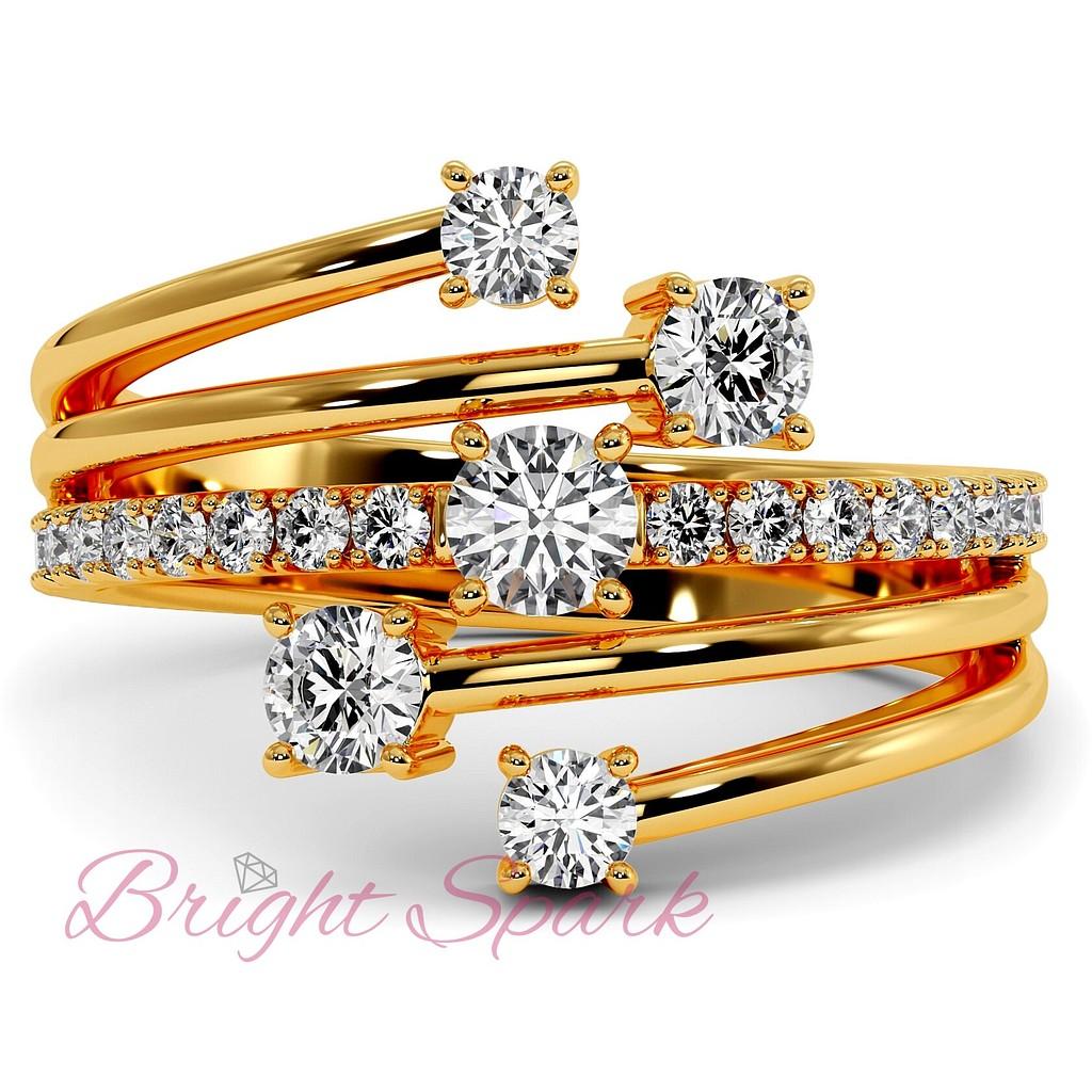 Кольцо желтого золота с бриллиантами и ветвящейся дужкой Vera 0,7 карата